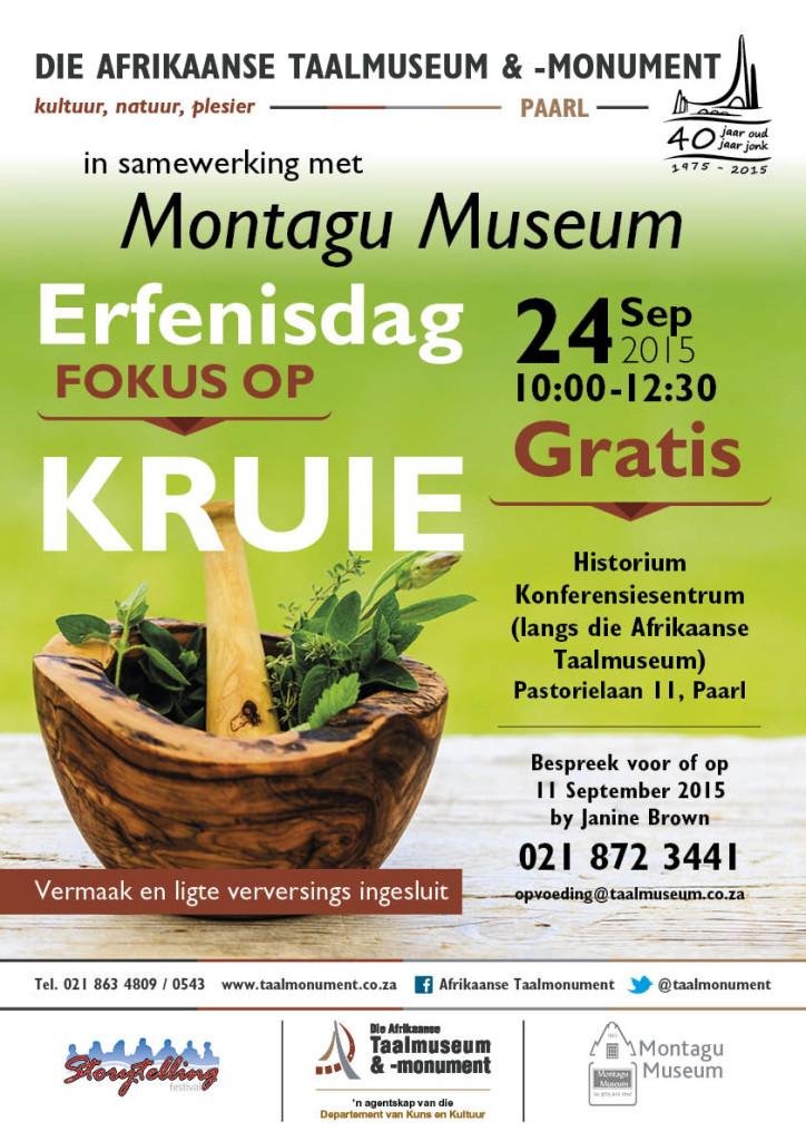 Erfenisdag-fokus op kruie Taalmuseum 2015